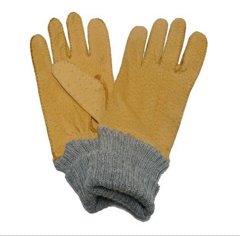 Lady's peccary leather alpaca cuff gloves-yellow-7 - M