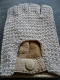 Lady's peccary leather alpaca crochet half finger gloves