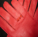 Lady's Peccary leather long gloves with appliques at wrist
