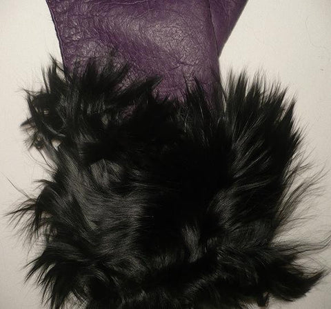 Lady's fashion peccary leather gloves alpaca fur