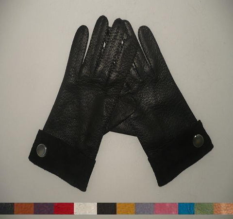 Men's peccary leather long finger gloves with button