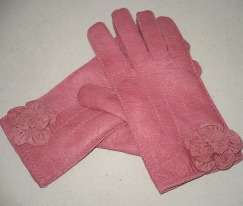 Lady's Peccary leather long gloves with leather flower applique