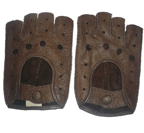 Men's peccary leather rally half finger gloves