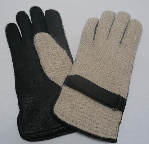 Men's peccary leather alpaca crochet belted gloves.
