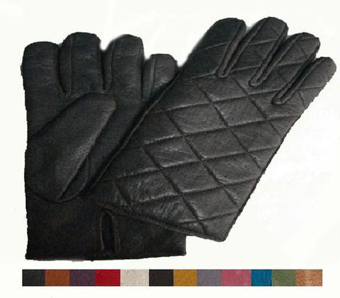 Lady's peccary leather quilted gloves