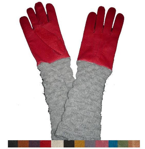 Lady's alpaca sleeve peccary leather gloves