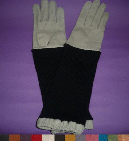 Lady's peccary leather alpaca sleeve long gloves