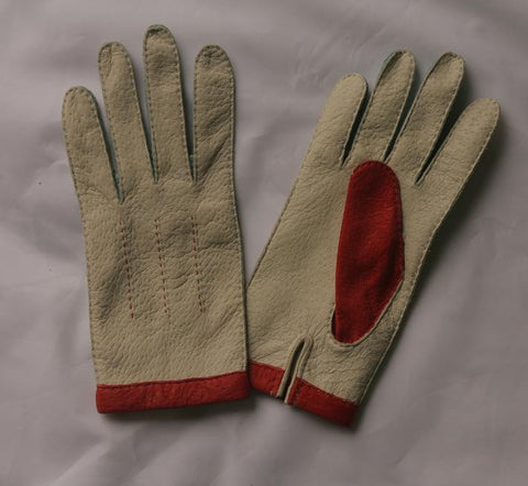 Lady's Peccary leather long gloves contrast stitching