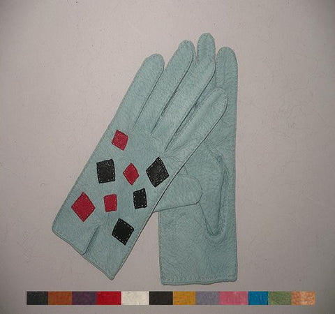 Lady's Peccary leather gloves  patchworked