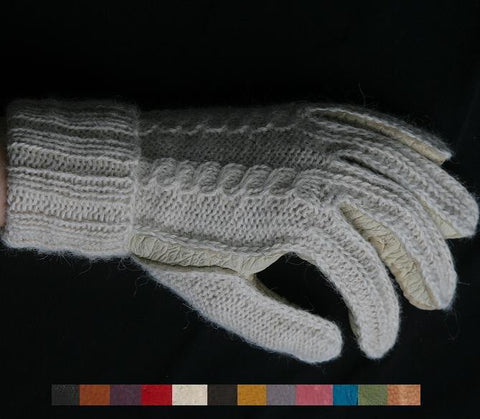 Lady's Peccary leather alpaca knitted  gloves