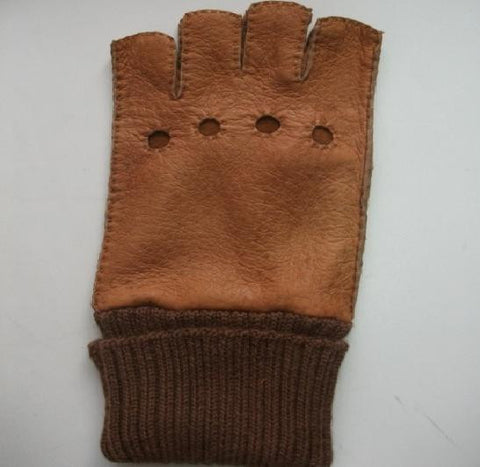 Men's alpaca cuff half finger peccary leather gloves