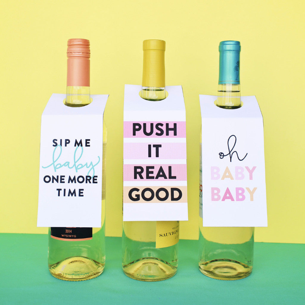 Baby Shower Wine Tags: Digital Download