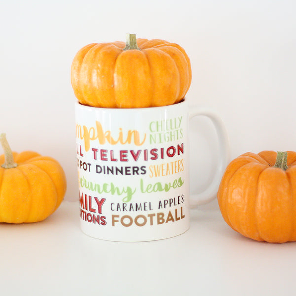 Fall Season Typography Mug