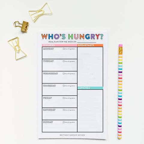 Rainbow Who's Hungry Meal Planner Notepad