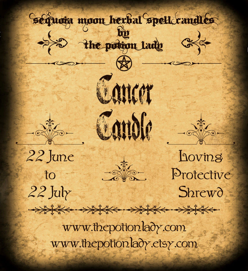 Cancer Zodiac Candles by The Potion Lady