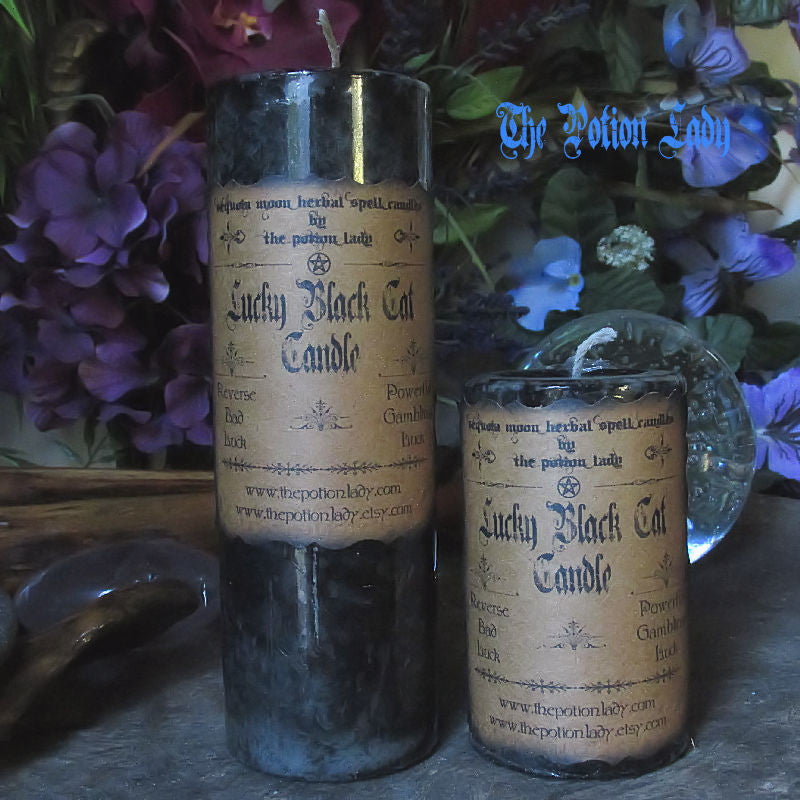 Lucky Black Cat Candles by The Potion Lady