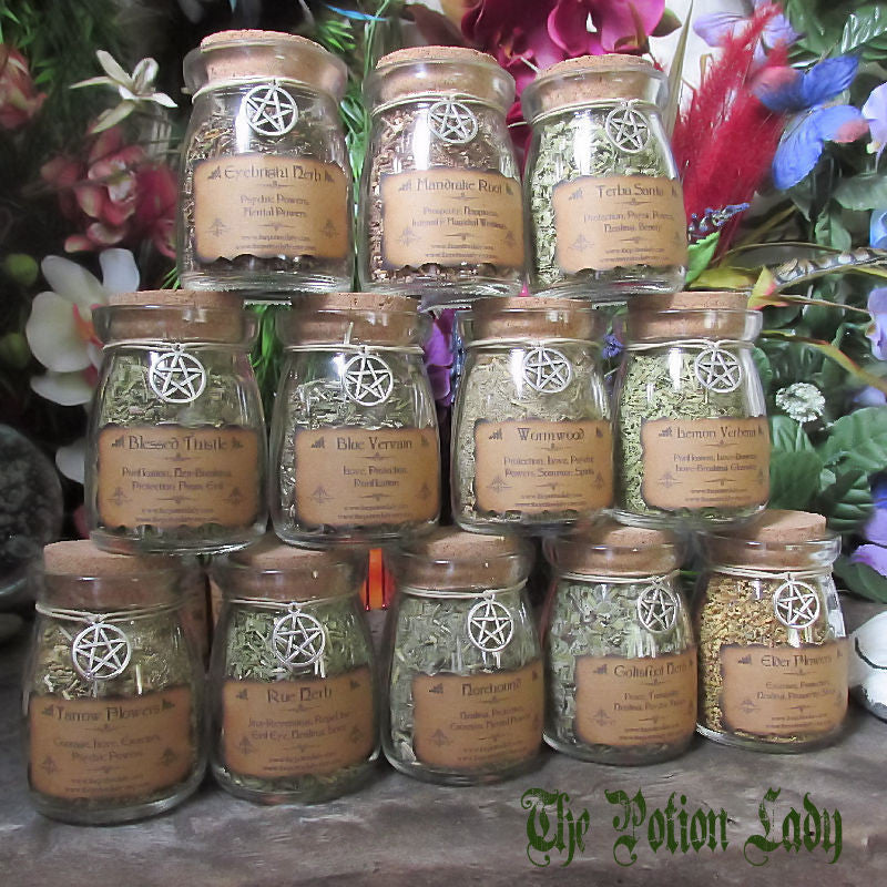 Set of Witch's Herbs Jars, Sacred Herbs, Wiccan Herb Jars, Herbal Witchcraft, Hoodoo Herbs, Witch's Cupboard Jars, Corked Herb Jars