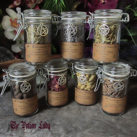 Flip-Top Herbs Jars, Sacred Herbs, Wiccan Herb Jars, Herbal Witchcraft, Hoodoo Herbs, Witch's Cupboard Jars, Sealed Herb Jars