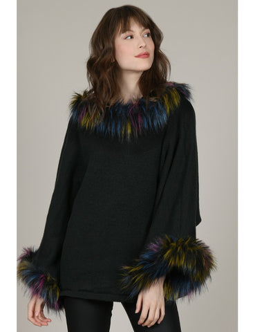 Faux Fur Trim Poncho
