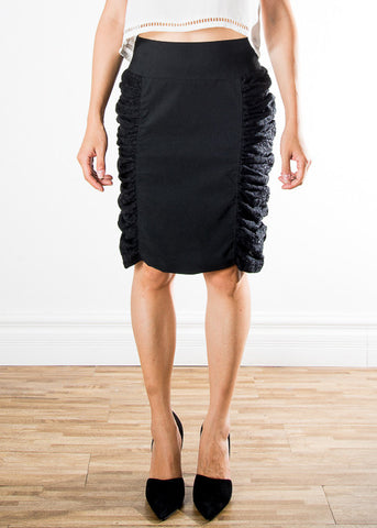 Side Textured Pencil Skirt