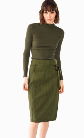 Military Green Pencil Skirt