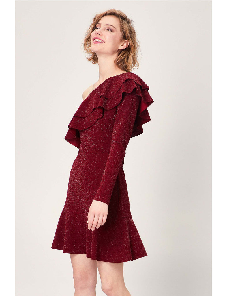 Dress Sparkly Red Ruffled