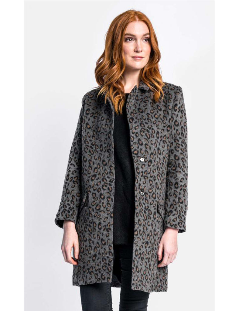Dark Grey Leopard Print Coat