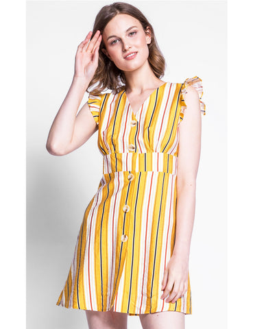 Dress Retro Style Yellow