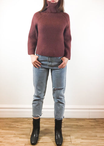 Burgundy crop sweater