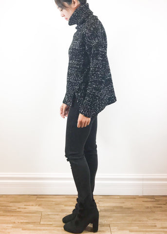 Black panel lace shirt