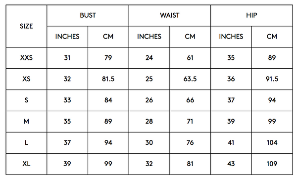 C/Meo Collective, Keepsake, The Fifth, Finders Keepers Sizing Chart