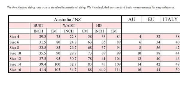We Are Kindred Sizing Chart
