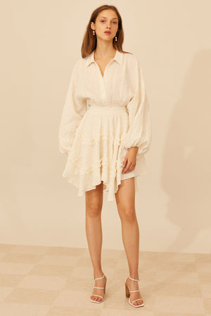 Distinct L/S Mini Dress Ivory