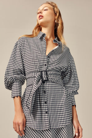 Provided Shirt Black Houndstooth