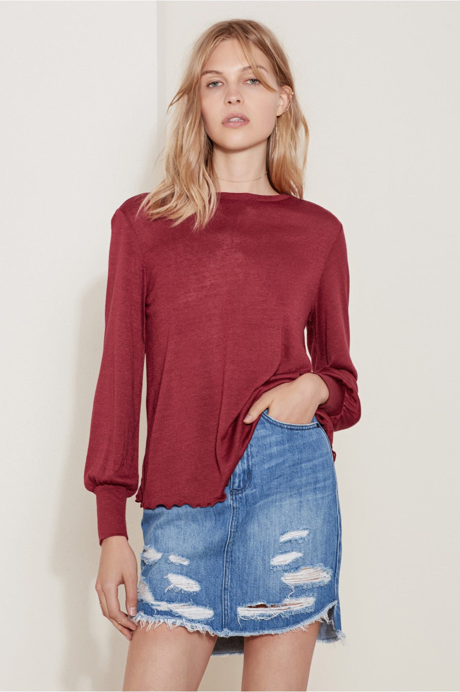With Eyes Open Long Sleeve Top in Ruby - Sallyrose