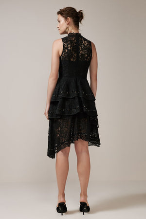 STAR CROSSED LACE DRESS black
