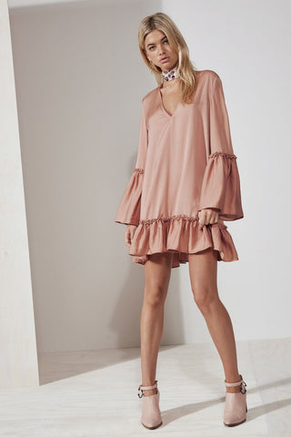 BANJO LONG SLEEVE DRESS dusty blush