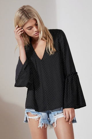 BANJO LONG SLEEVE POLKA DOT TOP black w white - Sallyrose
