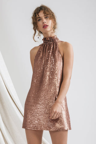 ILLUMINATED SHORT SLEEVE DRESS COPPER