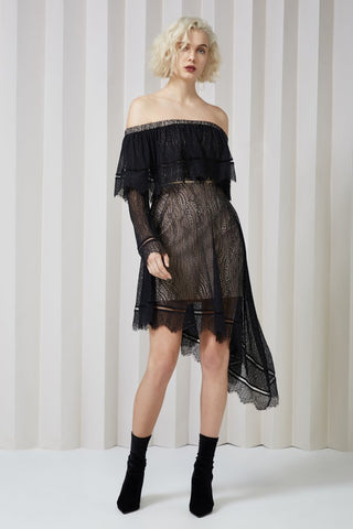 Slide Long Sleeve Lace Dress Black
