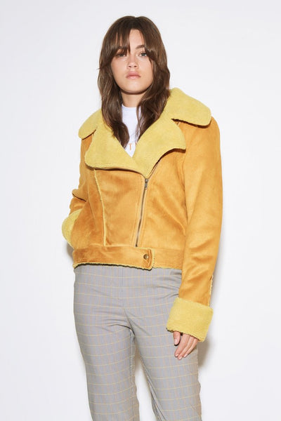 Street Light Biker Jacket Mustard
