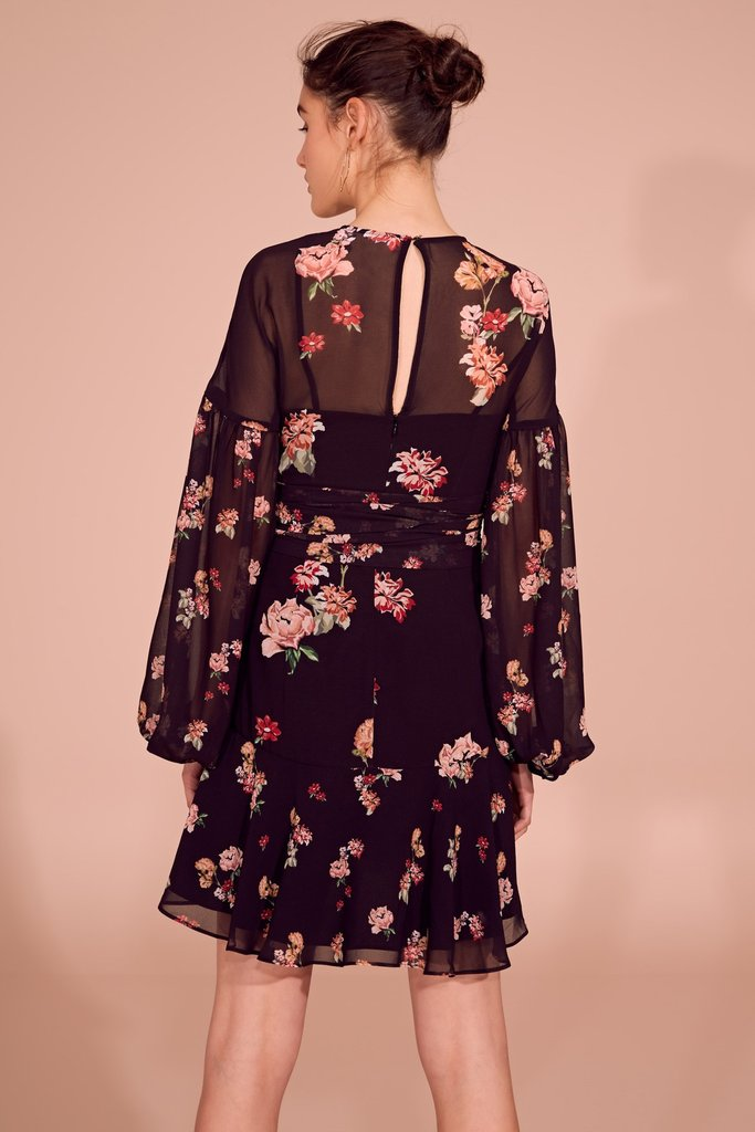 Evolve L/S Dress Black Scatter Floral