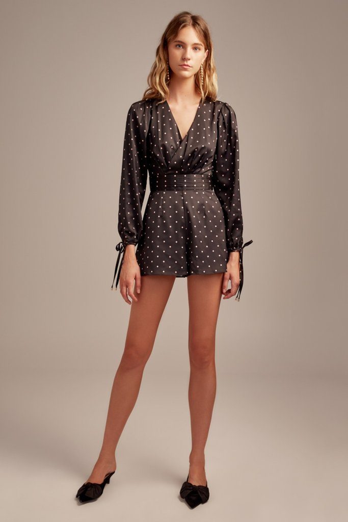Hold Back Playsuit Black w/ Blush Polka dot