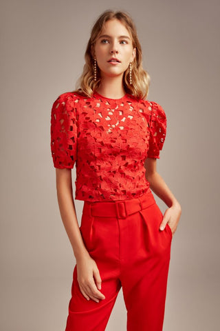Headlines Lace Top Red