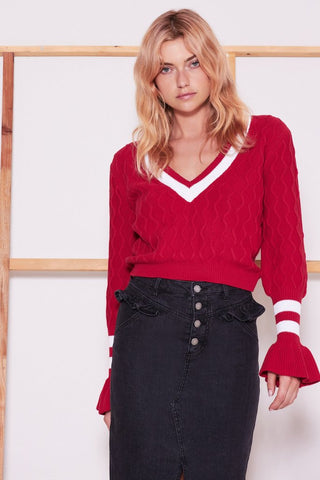 Graduate Knit Berry w/ White