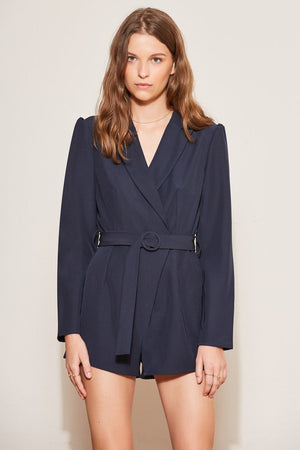 Curveball L/S Playsuit Navy