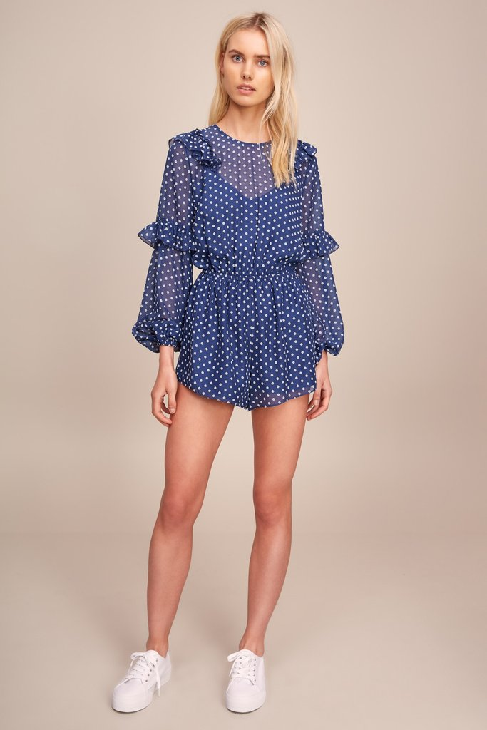 Titania L/S Playsuit Blue w/ White
