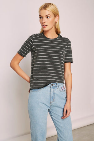 Dearest Stripe T-shirt Black w/ White