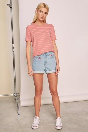 Dearest Stripe T-shirt Salmon w/ White