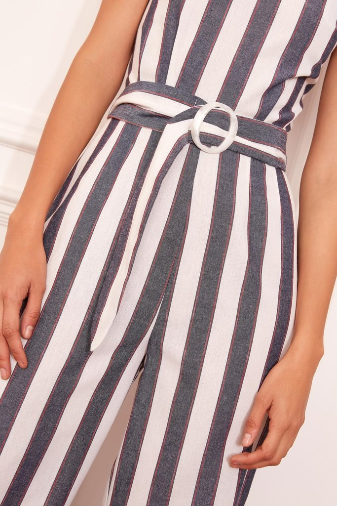 Sequence Stripe Jumpsuit Navy w/ Ivory